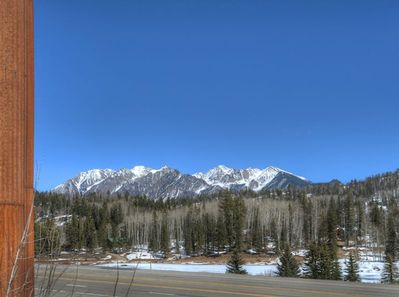 Mountain view from entrance to condos at Durango Colorado vacation rental home at Silverpick Condominiums