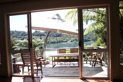 looking out at deck and lagoon