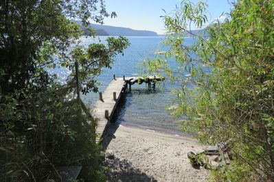 The Lakehouse Waitangi's private Beach