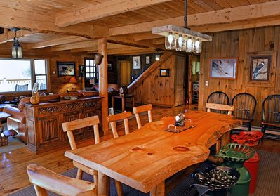 hand made log dining table