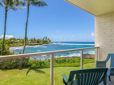 Photo for Poipu oceanfront condo with AC! Sleeps 4
