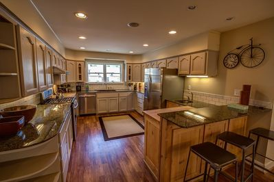 Large kitchen, all new appliances. Serving & cooking pieces for large gatherings