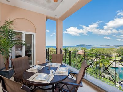 Enjoy panoramic ocean and mountain views from private balcony fit for royalty.