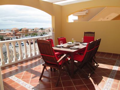 Photo for Stunning luxury apartment, roof terrace, sea views, on Campo De Golf, Caleta