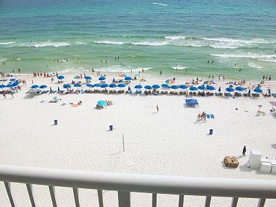 View of beach from our condo balcony on the 7th floor. Best floor level.