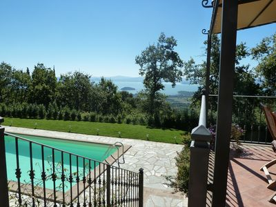 Photo for Aurora, charming stone house, wonderful view of Lake Trasimeno