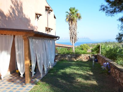 Photo for Sardinia Golfo Aranci garden apartment overlooking the sea 300 m. from the beach