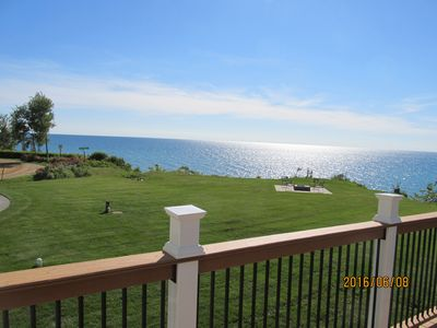 Photo for Lake MI home,  private beach, fire pit, hot tub, amazing views