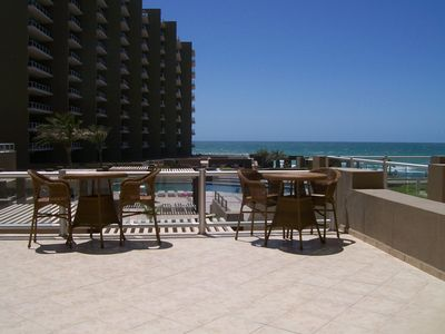 Photo for Las Palomas Ground Floor Oceanview 2BR, Huge patio steps from lazy river,pools