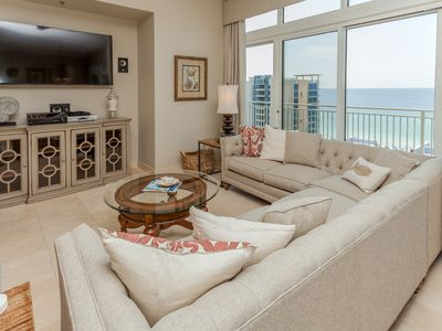 Photo for Spacious penthouse condo and private balcony, shared pool/fitness, beach access!