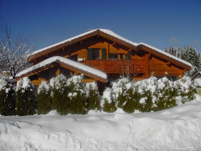 Photo for 4 * rated Chalet planks, comfortable, the Rousses village center