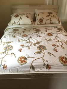 Come rest on your vintage full size bed with fresh sheets and cozy comforter!