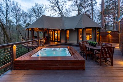 The Nest Hot Springs.  A Luxury Tent perched among the trees.