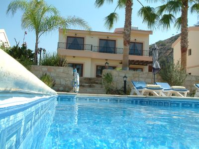 Photo for Luxurious private holiday villa in the heart of Pissouri Bay.2 min walk to beach