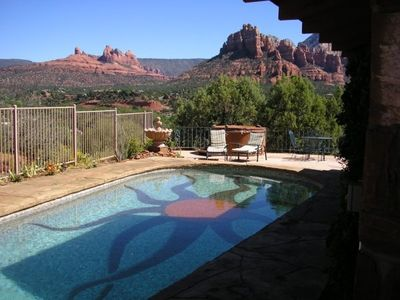 View from the backyard pool - solar heated
