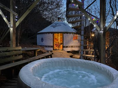 Photo for Yurt Shambala with a Private Hot Tub   with treehouse skydeck and BBQ!