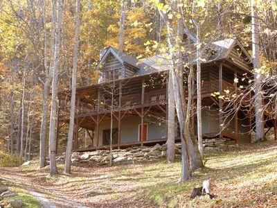 Photo for Falling Waters, Mountain Log Cabin with Privacy, Hiking Trails & Creeks