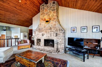 Wood burning fireplace in the Great room