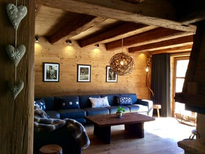 Photo for NEW CHALET (commissioned July 2019), fireplace, sauna, swimming pool, close to