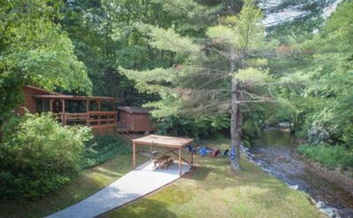 Photo for Relaxing Trout Fishing Creekside Cabin