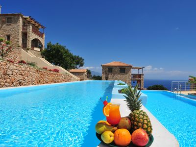 Photo for Strofilia, 4prs holiday villa with shared pool and amazing sea view.