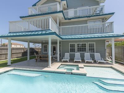 Photo for 4300SF Beach House, Private Balconies, Large Heated Pool & Hot Tub, Table Games, Bayview/Sun Set!