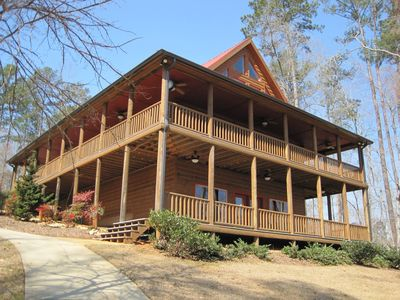 Large wrap around porch and lower deck for enjoying the views of the lake