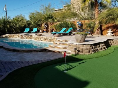 Photo for Private Oasis Just For You!  Sparkling Pool & Spa! Putting Green!