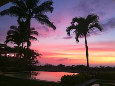 Sunset over the pool - Tiki Torches