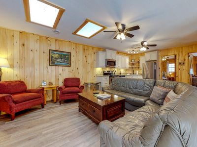 Photo for Riverfront home w/ hot tub, firepit & 2 decks - ideal for fishing/rafting/hiking