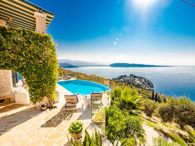 Exquisite Family Villa With Spectacular Ocean Views And Heated Infinity  Pool - Corfu Regional Unit