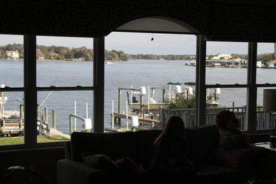 The Great Room offers great 2nd floor views of the pool, yard, dock, and water.