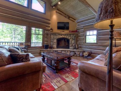 Photo for Private, Wooded Log Cabin. Luxury Amenities With Ski Access & Private Hot Tub!