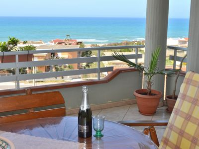 Photo for Penthouse panoramic view 8 seats 150 meters from the beach