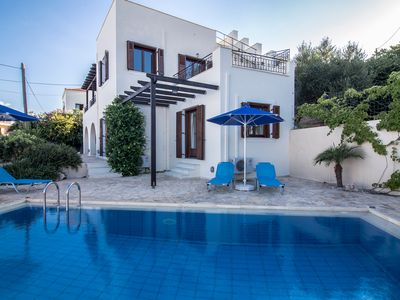 Photo for Pool villa with cretan colour and great view to Almyrida bay