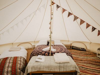 Photo for Boho Bell Tent - Electric Pitch. Incledon Farm, Georgeham, Croyde. SB.