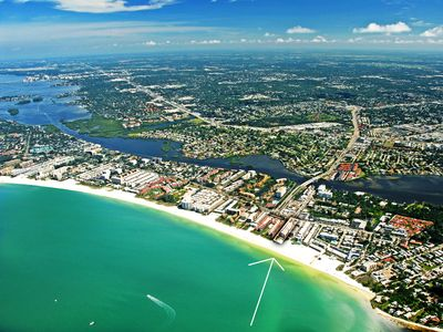 Aerial image of Sea Shell Condo - directly on world famous Crescent Beach Siesta Key Florida