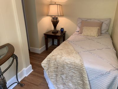 Enjoy a cozy nights rest on this twin bed newly purchased in March, 2019.