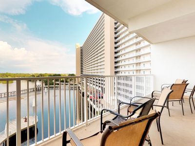 Photo for NEW LISTING! Lake view waterfront condo w/ balcony & shared pools/hot tub!