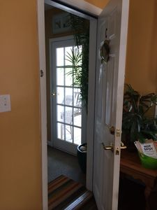 entrance to front deck from living room