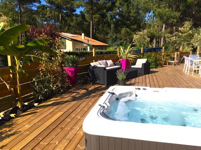 Photo for PRETTY VILLA JACUZZI HEATED, WIFI, renovated 2018 facing the golf LACANAU-OCEAN 6 p