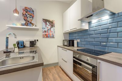Kitchen is fully equipped with espresso maker, kettle, fridge/freezer & hob/oven