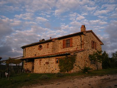 Photo for typical and ancient stone farmhouse, bright and panoramic, with a view to the sea