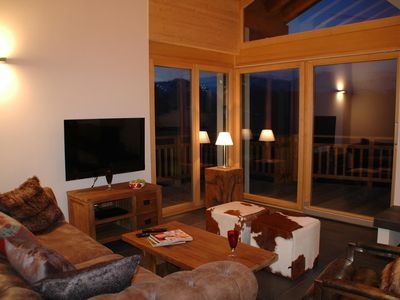 Photo for Luxury 4 Room Apartment ***** for 6 persons, located near the ski slopes. Modern living room with ch