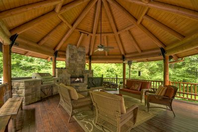 Outdoor Wood Burning Fireplace, Television and Gas Grill