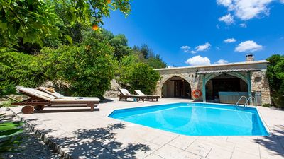 Photo for Charming Stone Villa, Private Pool, Jacuzzi, Beautiful Views to the Orange Groves in Miliou Village!