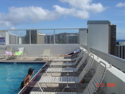 Relax at the 34th floor rooftop pool overlooking Diamond Head