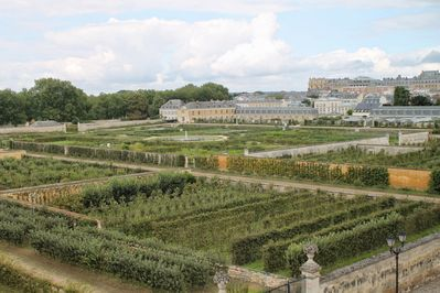 Stunning views of the potager de Roi vegetable garden and castle