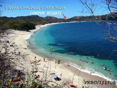 Short walk from the condo to the beautiful Playa Conchal white beach.