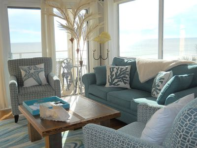 Living area with panoramic gulf view